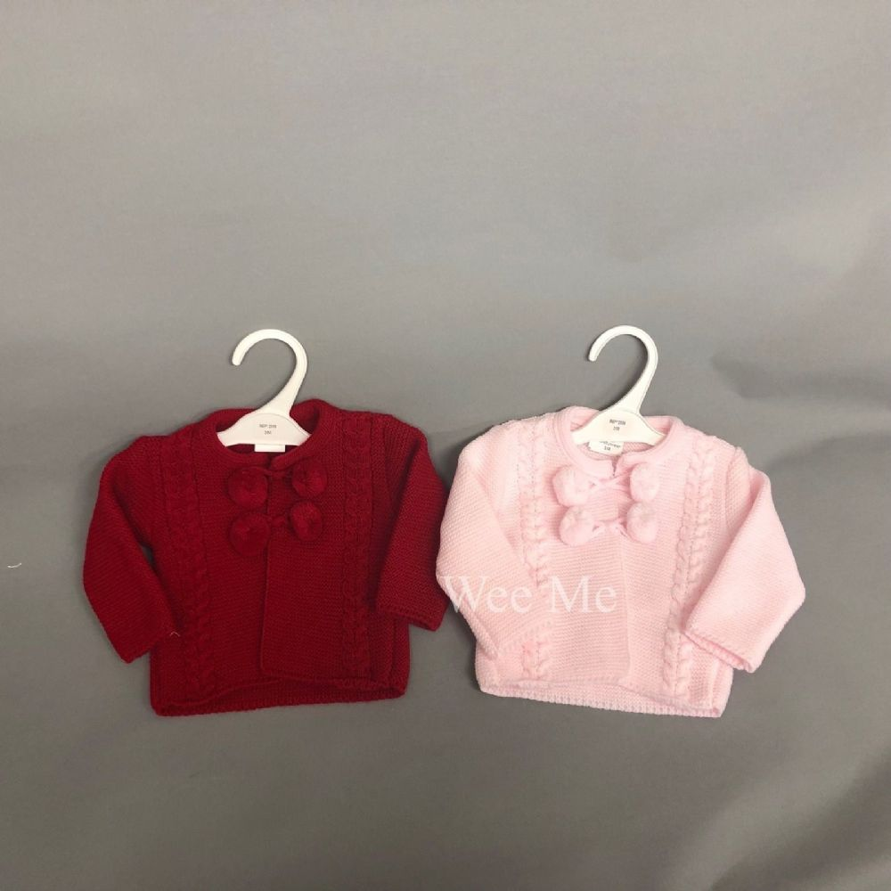 *SALE* Spanish Baby Girl Knitted Pom Cardigan Pink/Red
